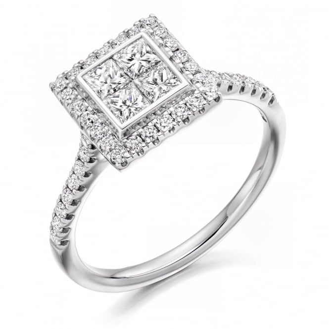 The Raphael Collection Platinum 0.75ct invisible set princess diamond solitaire ring