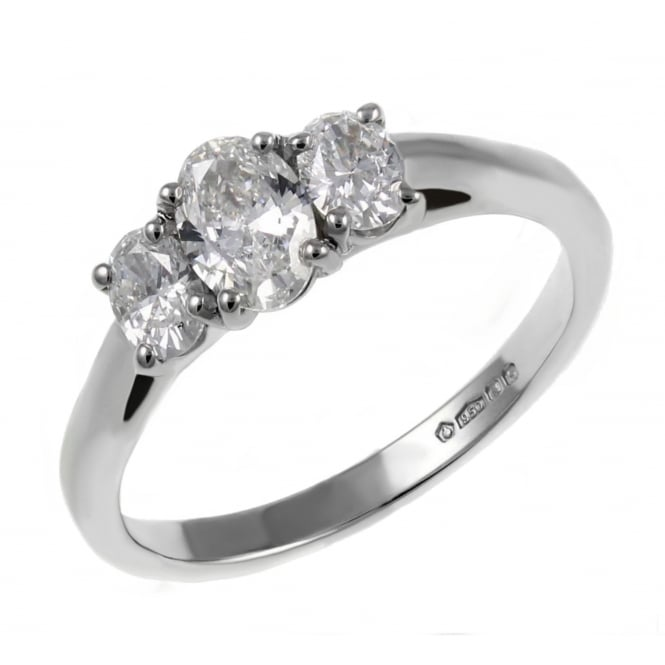 Platinum 0.75ct oval diamond 3 stone ring.