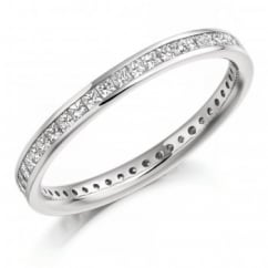 Platinum 0.75ct princess cut diamond full eternity ring.
