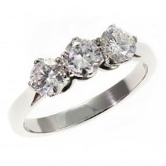 Platinum 0.75ct round brilliant cut diamond 3 stone ring.