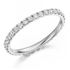 Platinum 0.75ct round brilliant cut diamond full eternity ring.