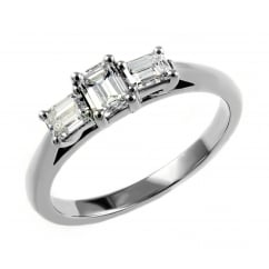 Platinum 0.76ct emerald cut diamond 3 stone ring.