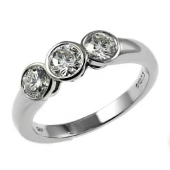 Platinum 0.76ct round brilliant cut diamond 3 stone ring.