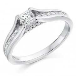 Platinum 0.77ct D VS1 IGI princess cut diamond solitaire ring.