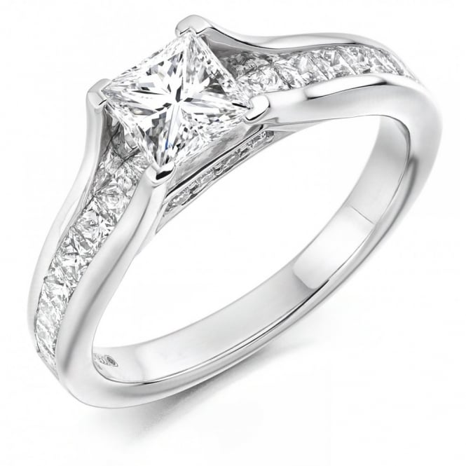 The Raphael Collection Platinum 0.77ct F VS1 GIA princess cut diamond solitaire ring.