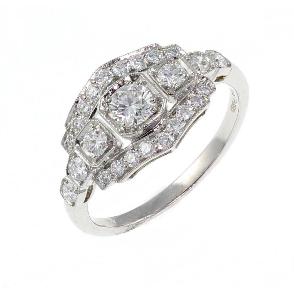 Platinum 0 78ct Pave Set Art Deco Style Diamond Ring