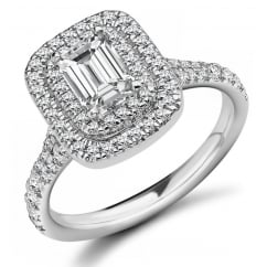Platinum 0.79ct G VS1 IGI emerald cut diamond double halo ring.