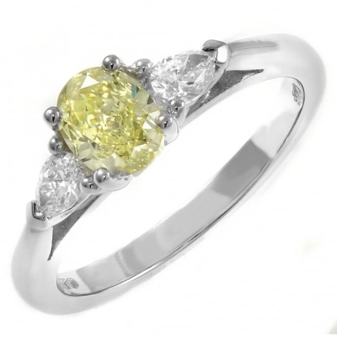 Platinum 0.79ct VS1 GIA fancy yellow diamond solitaire ring.