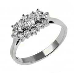 Platinum 0.80ct baguette diamond cluster ring