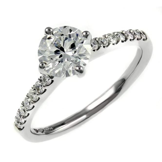 Platinum 0.80ct E VS1 GIA round brilliant cut diamond ring.