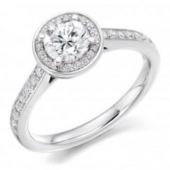 Platinum 0.80ct F VS2 IGI round brill diamond solitaire ring.