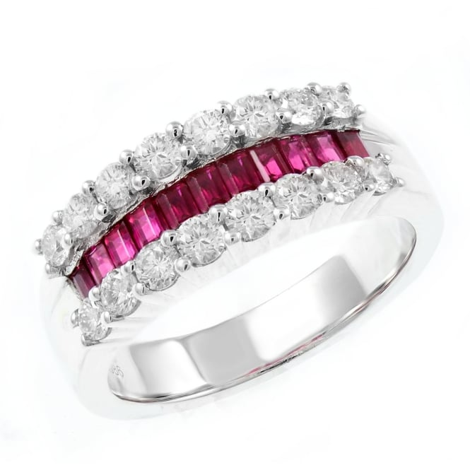 Platinum 0.80ct ruby & 0.86ct diamond triple row eternity ring.