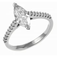 Platinum 0.82ct D VS2 EGL marquise cut diamond solitaire ring.