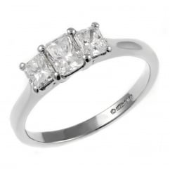 Platinum 0.84ct radiant cut diamond 3 stone ring.