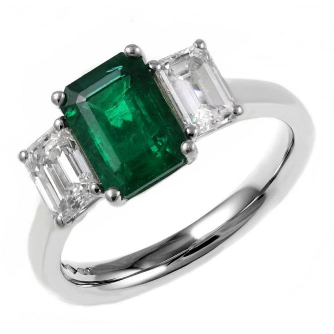Platinum 0.85ct emerald & 0.66ct diamond 3 stone ring.