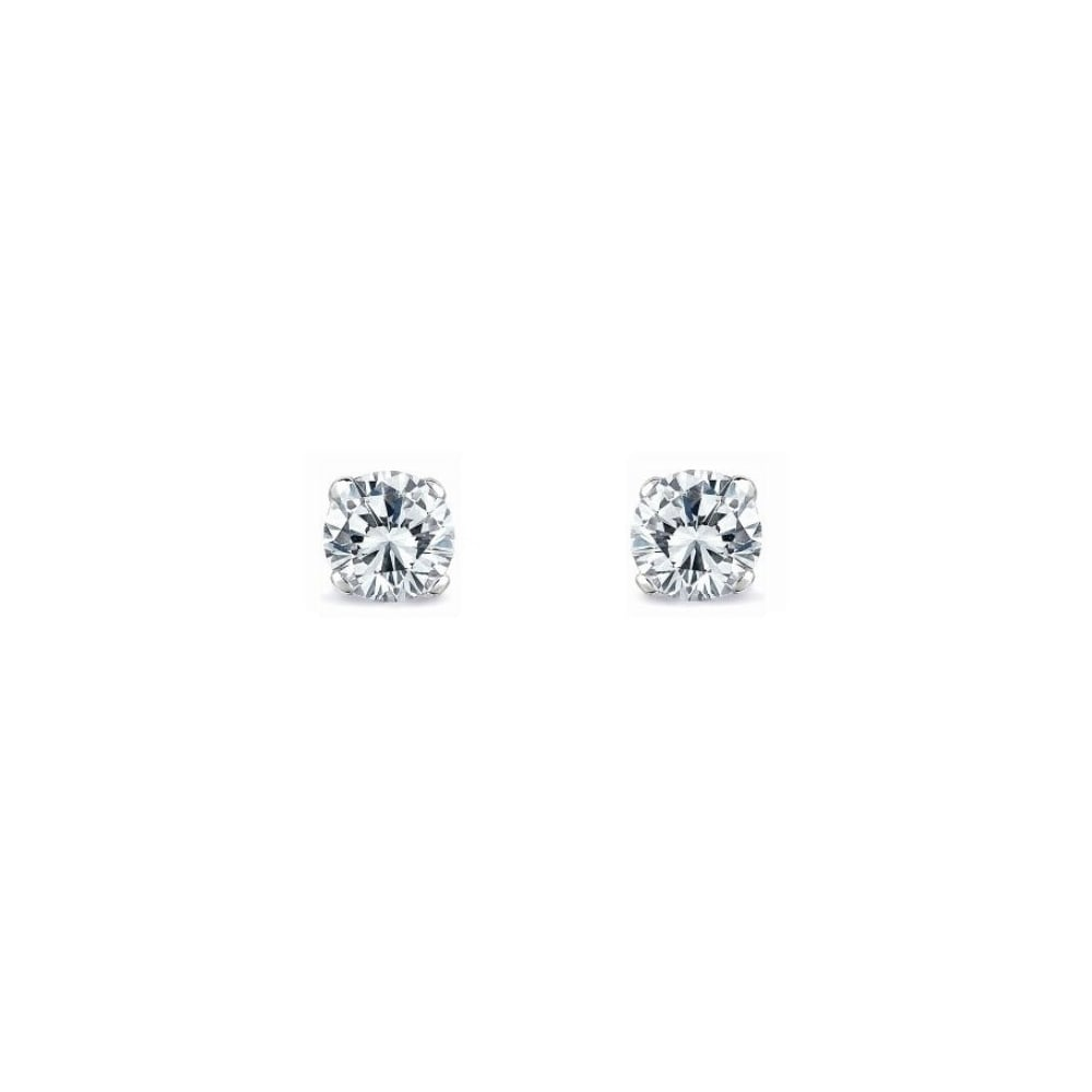 Platinum 0 85ct Round Brilliant Cut Diamond Stud Earrings