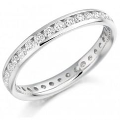 Platinum 0.88ct round brilliant cut diamond full eternity ring.