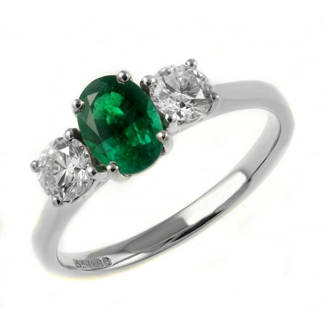 Platinum 0.89ct emerald & 0.53ct diamond 3 stone ring.