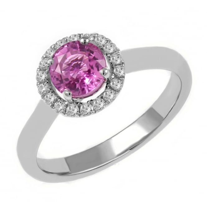Platinum 0.89ct pink sapphire & 0.23ct diamond halo ring.