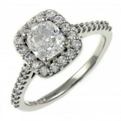 Platinum 0.90ct D VS2 GIA cushion cut diamond halo ring.