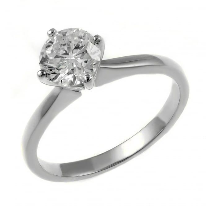 Platinum 0.90ct E VS2 GIA round brilliant cut diamond ring.