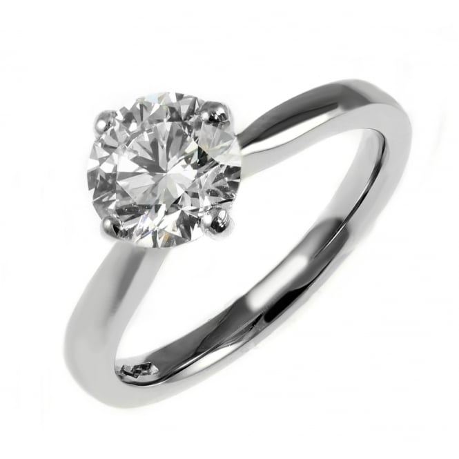 Platinum 0.90ct F VS1 EGL round brilliant cut diamond ring.
