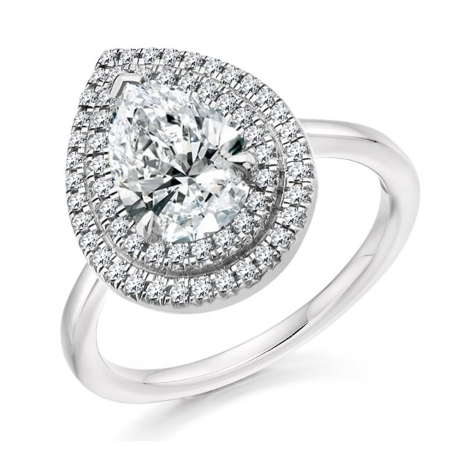 Platinum 0.99ct E SI1 GIA pear diamond double halo ring.