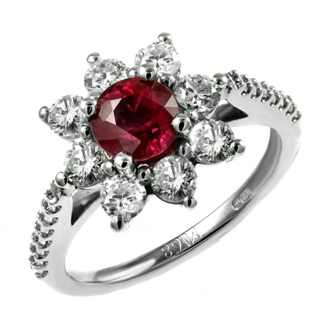 Platinum 0.99ct ruby & 1.03ct diamond flower cluster ring.