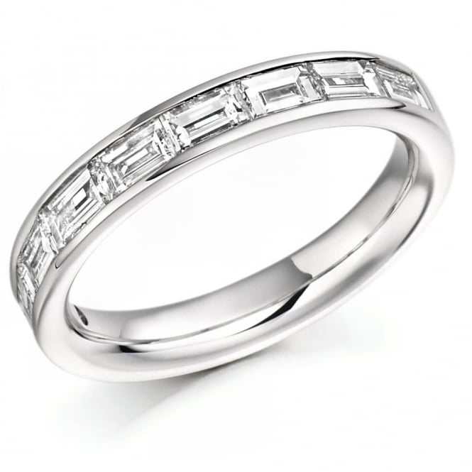 The Raphael Collection Platinum 1.00ct baguette cut diamond half eternity ring.