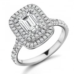 Platinum 1.00ct E VS1 GIA emerald cut diamond double halo ring.