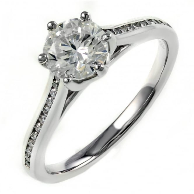 Platinum 1.00ct F VS1 EGL round brilliant diamond solitaire ring