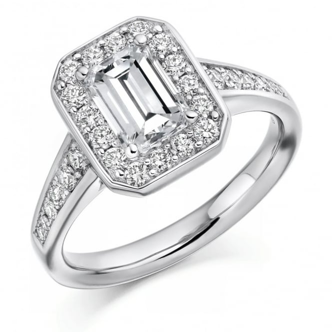 The Raphael Collection Platinum 1.00ct F VS1 GIA emerald cut diamond halo ring.