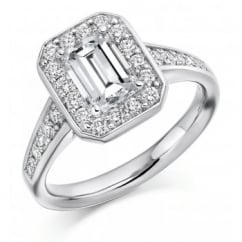 Platinum 1.00ct F VS1 GIA emerald cut diamond halo ring.