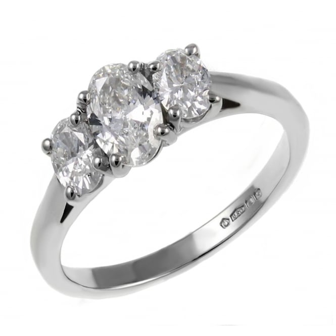 Platinum 1.00ct F VS2 EDR oval diamond 3 stone ring.