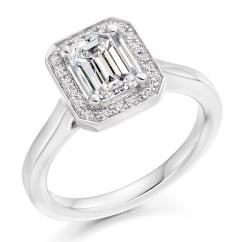 Platinum 1.00ct F VVS2 GIA emerald cut diamond halo ring.