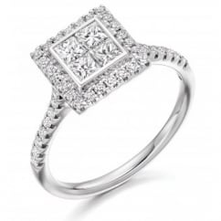 Platinum 1.00ct invisible set princess diamond solitaire ring.