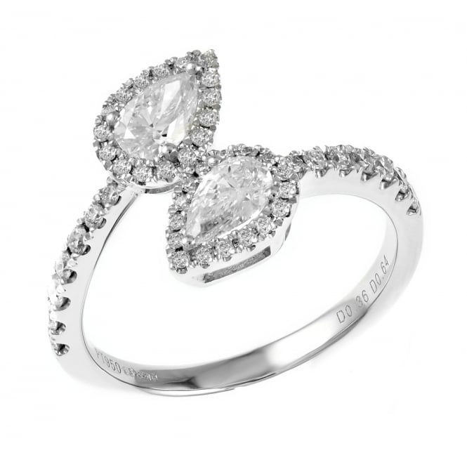 Platinum 1.00ct pear shaped diamond twist ring.