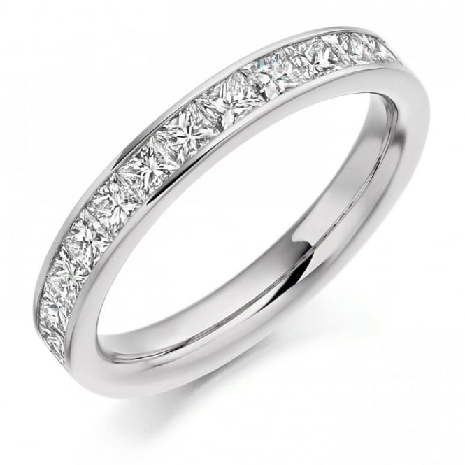The Raphael Collection Platinum 1.00ct princess cut diamond half eternity ring.