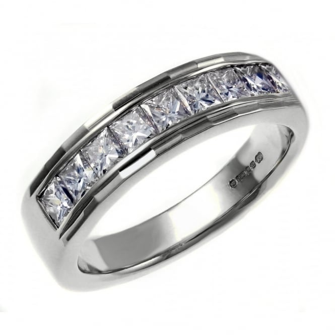 Platinum 1.00ct princess cut diamond half eternity ring.