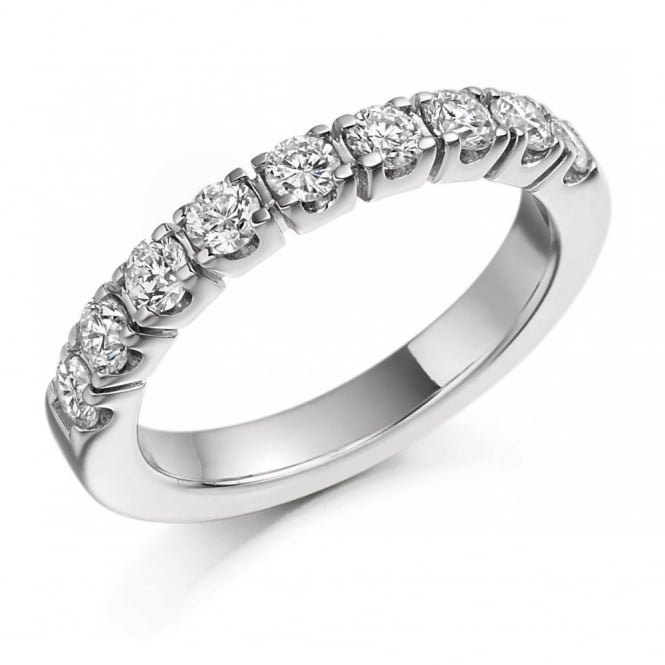 The Raphael Collection Platinum 1.00ct round brilliant cut diamond half eternity ring.