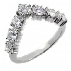 Platinum 1.00ct round brilliant diamond 7 stone wishbone ring.