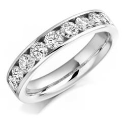 Platinum 1.00ct round brilliant H SI diamond half eternity ring.