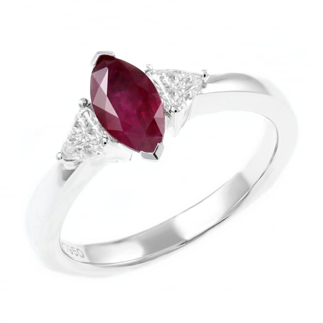 Platinum 1.00ct ruby & 0.33ct diamond 3 stone ring.
