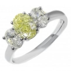 Platinum 1.00ct VS2 GIA fancy yellow oval & 0.82ct diamond ring.