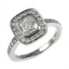Platinum 1.01ct D VS1 EGL cushion diamond halo ring.