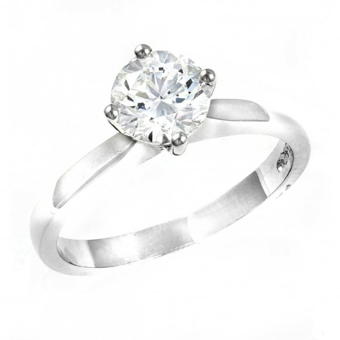 Platinum 1.01ct D VS2 GIA round cut diamond solitaire ring.