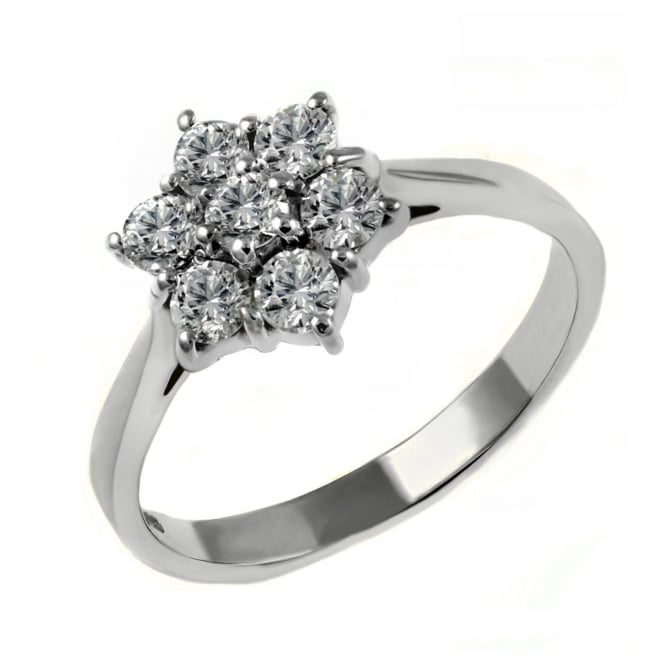 Platinum 1.01ct diamond flower cluster ring.