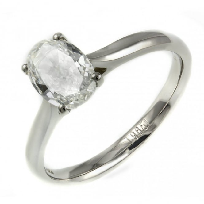 Platinum 1.01ct E SI1 EGL oval diamond solitaire ring.