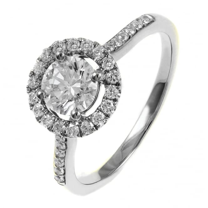 Platinum 1.01ct E SI1 EGL round brilliant cut diamond halo ring