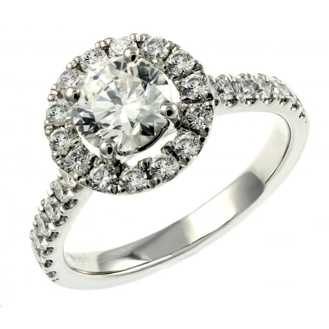 Platinum 1.01ct E VS2 GIA round brilliant cut diamond halo ring.